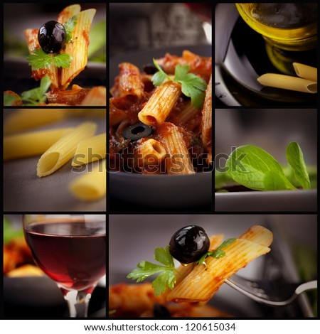 Food series. Collage of pasta images. Penne with tomato, basil and olives, red wine ,olive oil and fresh salad. - stock photo
