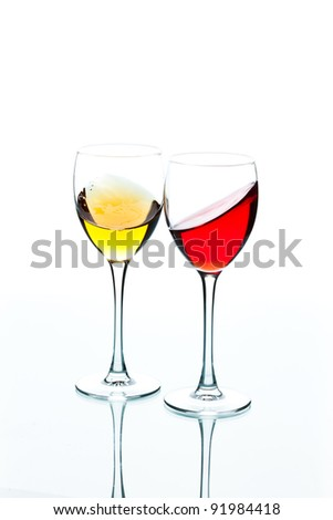 food series: red and white wine in the goblet