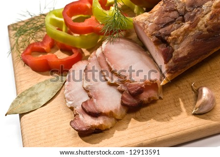 food series: sliced ham on the wooden board