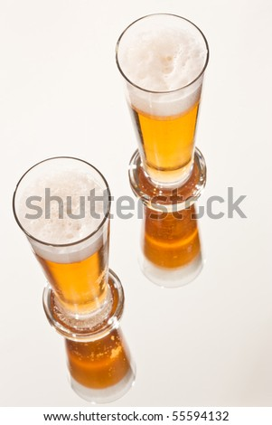food series: two glasses of light beer