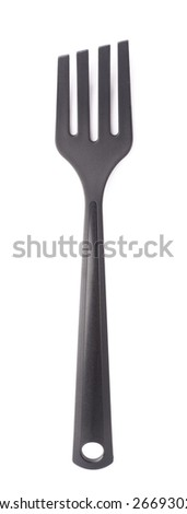 Food serving kitchen spatula plastic black fork isolated over the white background