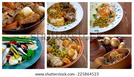 Food set . French  traditional  cuisine