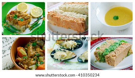 Food set . French  traditional  cuisine - stock photo