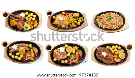Food set japanese food beef ,fish steak. collage traditional griddles isolated