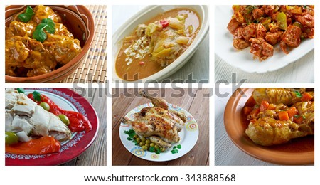 Food set of different  chicken  Meat . collage