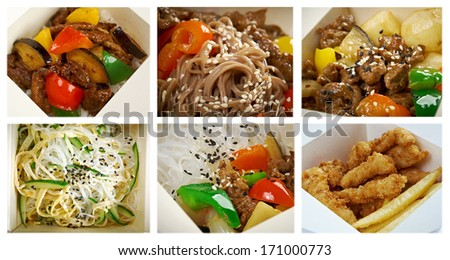 Food set of different chinese cuisine in take-out box