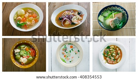 Food set of different fish  soups. collage