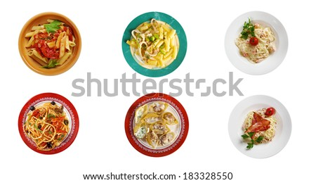 Food set of different  italian pasta. collage