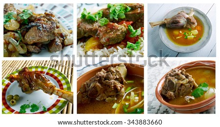 Food set of different  Mutton  meat . collage - stock photo