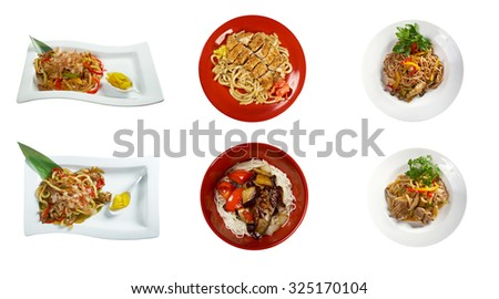 Food set of different noodles  chinese cuisine . collage