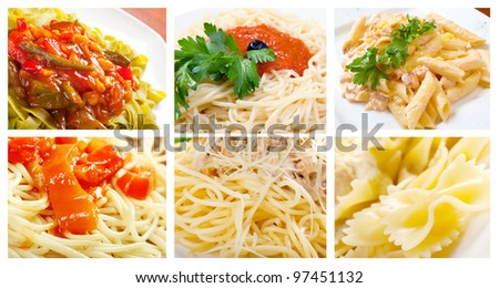 Food set of different  pasta. collage