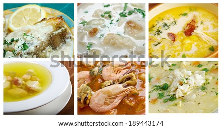 Food set of different  seafoods. collage - stock photo