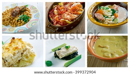Food set .spanish  traditional  cuisine.closeup