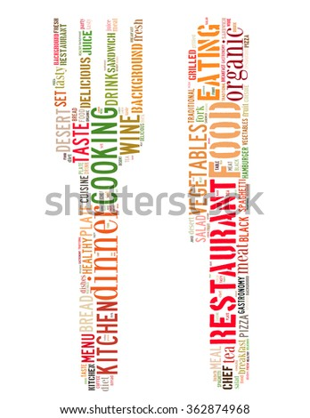 Food sign, word cloud concept on white background. - stock photo