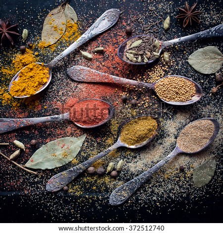 Food spice ingredients for cooking dark background - stock photo
