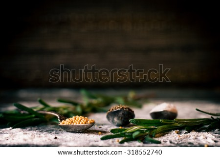 Food spice seasoning ingredients for cooking in cuisine on dark background. Dry powder curry, ginger, rosemary, salt. Asian red, yellow, green colorful aroma condiment.   - stock photo