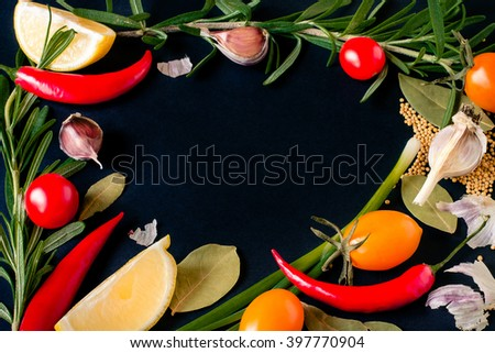 Food spice seasoning ingredients for cooking in cuisine on white background. Dry powder curry, ginger, chili, rosemary, garlic, paprika, lemon. Asian  yellow, green colorful aroma condiment.   - stock photo