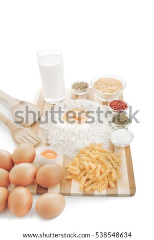Food supplies on hardboard isolated on white background