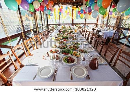 food table - stock photo