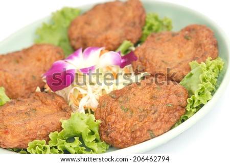 food,Thai Food Fish Cake (Tod Mun Pla) - stock photo