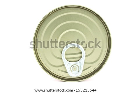 Food tin can lid isolated on white  - stock photo