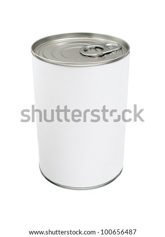 Food Tin Can with Blank White Label
