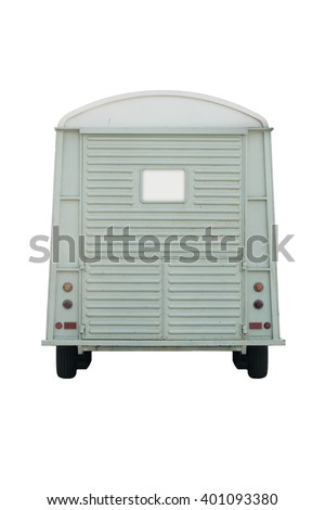 Food Trailer green pastel back view isolate