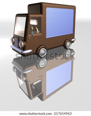 Food truck Closed Front, brown food truck with closed roller blind