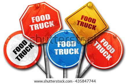 food truck, 3D rendering, rough street sign collection - stock photo