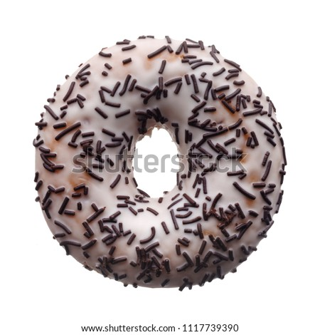 Food: white glaze and chocolate sprinkles donut, isolated on white background