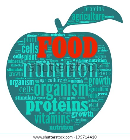 Food word cloud in shape of an apple - stock photo