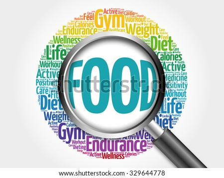 Food word cloud with magnifying glass, health concept - stock photo