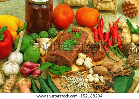 foods, food ingredients and spices - stock photo