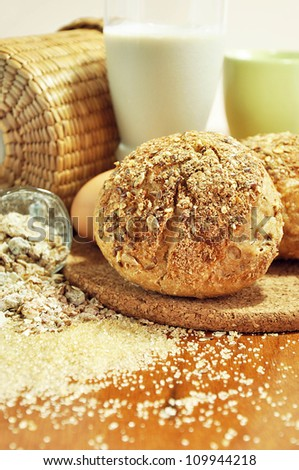Foods for breakfast - multigrain bread, milk, egg and cereal - still life food concept - stock photo