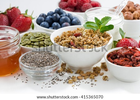 foods for healthy nutrition and breakfast on white table, closeup, horizontal