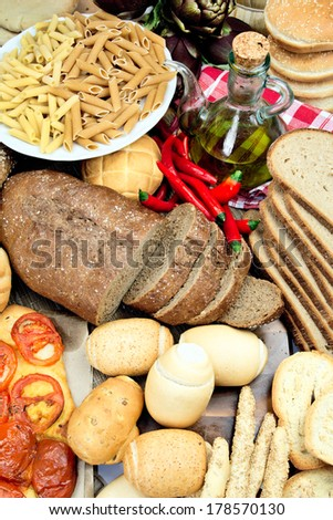 Foods high in carbohydrate - stock photo