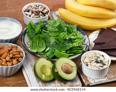 Foods High in Magnesium on a wooden table. Healthy eating. - stock photo