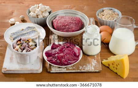 Foods Highest in Vitamin B12 (Cobalamin) on wooden background. Healthy diet.  - stock photo