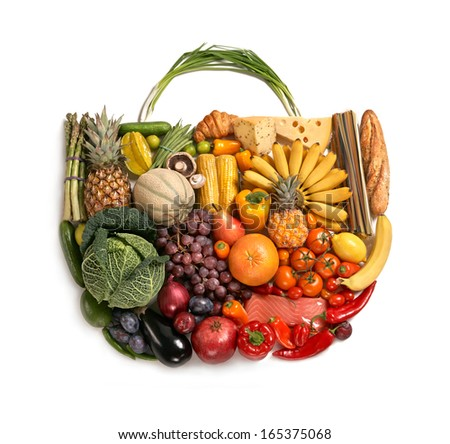 Foods made handbag / studio photography of designer handbag made from different fruits and vegetables - on white background  - stock photo