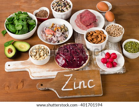 Foods with Zinc mineral on a wooden table. Top view  - stock photo