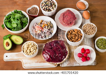 Foods with Zinc mineral. Top view  - stock photo