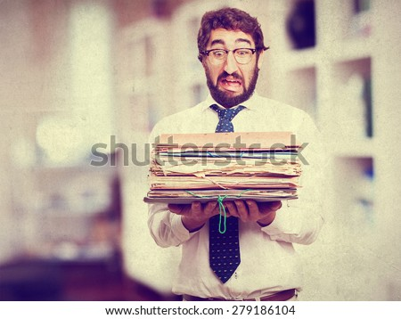 fool businessman with archives - stock photo