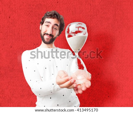 fool crazy man. happy expression - stock photo
