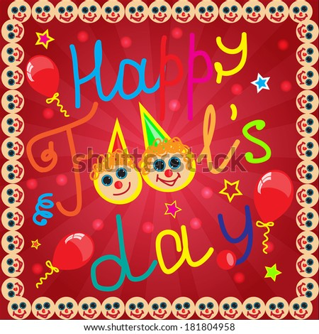 Fool's day background with frame from smile - stock photo