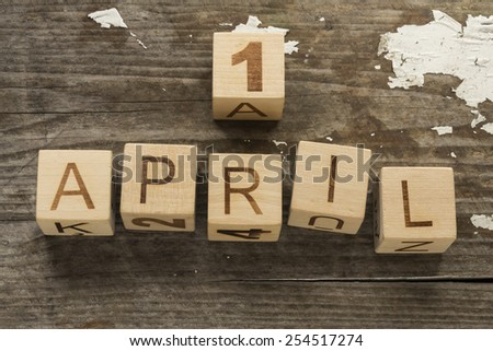 Fools' Day, calendar date April 1 - stock photo