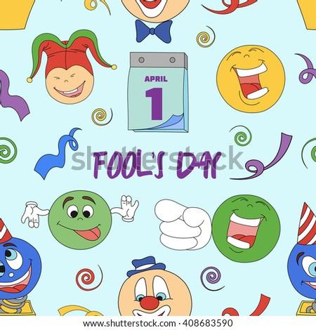 Fools day pattern- 1 April. Smile, laugh, joke.  - stock photo