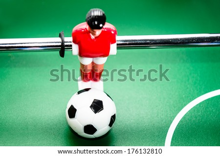 foosball, red player - stock photo