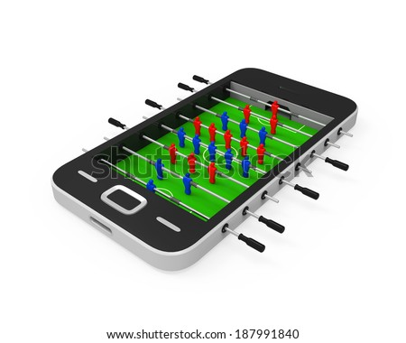 Foosball Table in Mobile Phone - stock photo