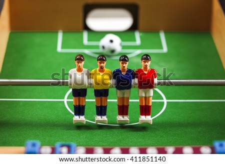 foosball table soccer  players - stock photo