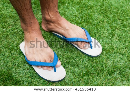 foot and slipper on the green grass stock